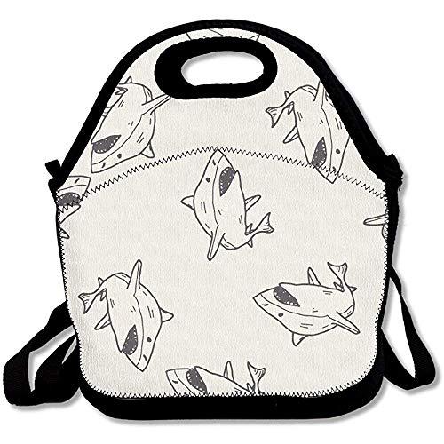 Shark Pencil Art Große & dicke Neopren-Lunch-Taschen, isolierte Lunch-Tasche, Kühltasche, warm, mit Schultergurt, für Damen, Teenager, Mädchen, Kinder, Erwachsene