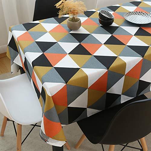 Tewene, tovaglia rettangolare in cotone e lino con nappe, per decorare la casa, la sala da pranzo, la cucina, il giardino, lino cotone, triangle orange, 55x86in(140x220cm)