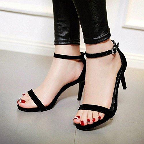 COOLCEPT Femmes Mode Strappy Chaussures Orteil ouvert Sangle de cheville Talon Aiguille Sandales noir#2