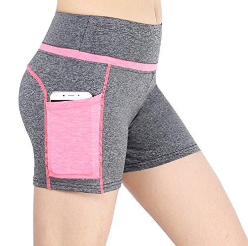 Munvot Tailored Geschenke kurze Sport Leggings Damen Sporthose Fitnesshose Yoga Leggings Sporthose für Damen(Grau Rosa(Kurze Hose) M)