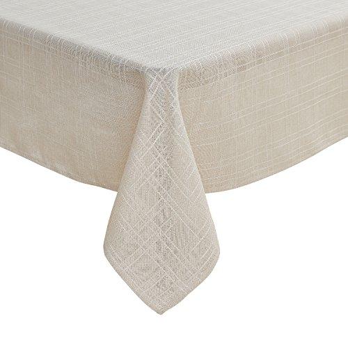 Deconovo Tischdecke Wasserabweisend Leinenoptik Lotuseffekt Tischtuch 130x160 cm Creme