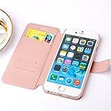 Eleoption® Smartphone Schutzhülle Leder Hülle mit Standfunktion und Karte Halter (iPhone 6/6S, Champagner-Rosa) -