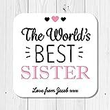personalisierbar Holz World 's Best Sister Untersetzer