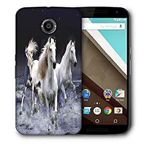 Snoogg White Horses Printed Protective Phone Back Case Cover For LG Google Nexus 6
