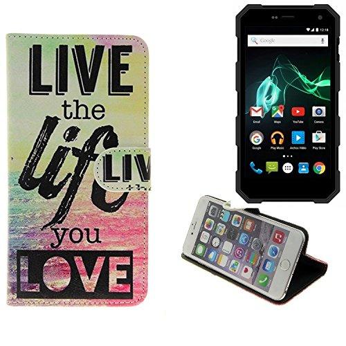 Case 360° Cover pour Smartphone Archos 50 Saphir, 'live the life you love' | Fonction Stand Wallet BookStyle meilleur prix, la meilleure performance - K-S-Trade (TM)