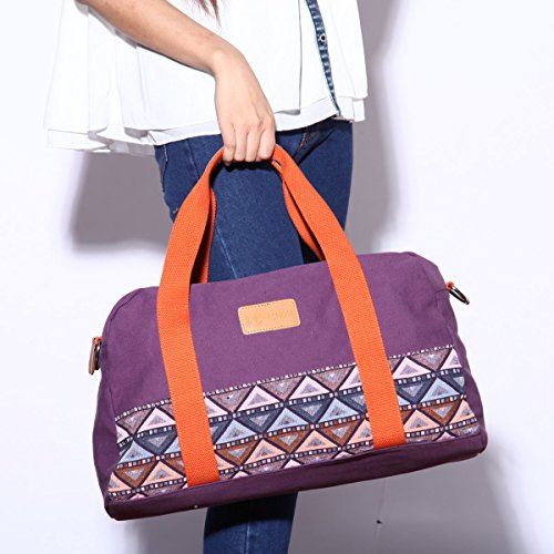 Eshow Borse a tracolla da donna di tela a mano Multifunzione per viaggio sacchetto borsa shopper bag shopping trekking Porpora