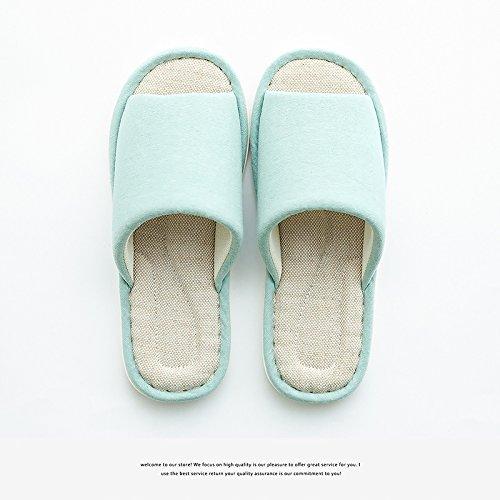 DogHaccd pantofole, Estate Home pantofole uomini indoor pavimenti in legno home massaggio sesso puro lino eroi pantofole femmina Verde chiaro4