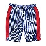 MOTOCO Gestreifte Herren Shorts Strandhose Nähen von kleinen Karierten Streifen Kordelzug mit Taschen Strandhose Halbe Hosen Shorts(XL,Blau)