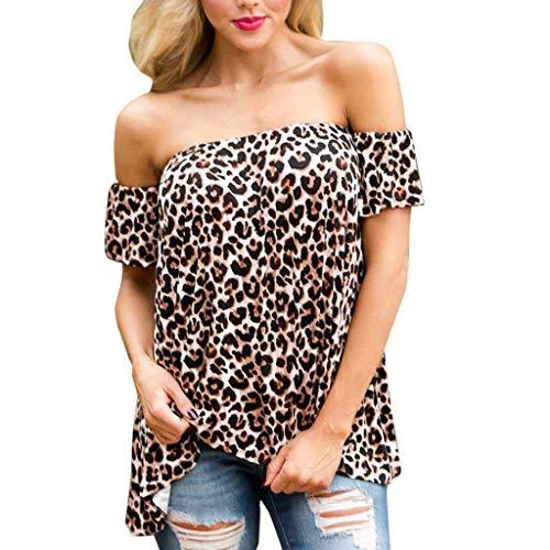 Twill Top Coat (CRRE Damen Bekleidung Mode Sexy Twill Leopard Drucken EIN Halsband Schulterfreie Schulter Eine Schulter Kurze Ärmel Top)