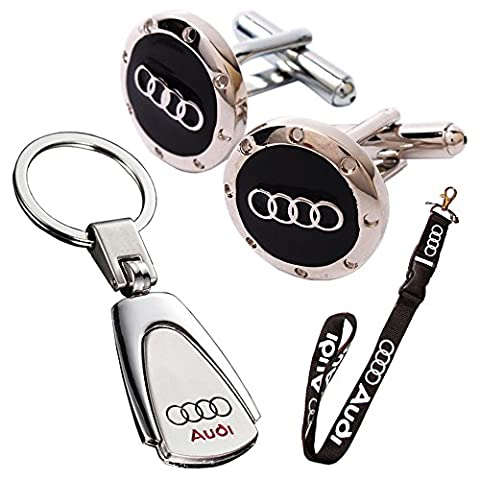 Triple Pack Deluxe Velatech Direct Audi Waterdrop Style Keyring, Lanyard and Black Round Logo Cuff-link Gift Set Audi Drivers Owners @NBS