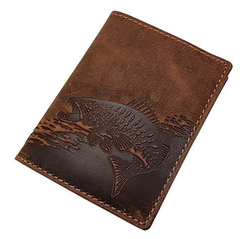 Echt Büffel-Vollleder Geldbörse in Hochformat mit Fisch-Motiv mit RFID & NFC Schutz in Braun