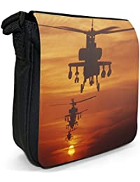 Four AH-64 Apache Helicopters Fly in Formation at Dusk Small Black Canvas Shoulder Bag / Handbag