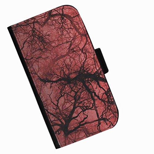 Hairyworm - Schwarzes und rotes Muster Blackberry 9720 Leder Klapphülle Etui Handy Tasche, Deckel mit Kartenfächern, Geldscheinfach und Magnetverschluss.