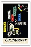 Singapour - Compagnies Aériennes Panaméricains (PAA) - Airline affiche vintage de voyage Vintage Airline Travel Poster by A. Amspoker c.1950s - Prime 290gsm Giclée Imprime - 61cm x 91cm...