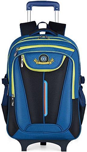 Trolley Rucksack, Coofit Schultrolley Schulrucksack Trolley Kinder Schulranzen Trolley Kinderkoffer Trolley Tasche für Mädchen Jungen (Coofit Blau)