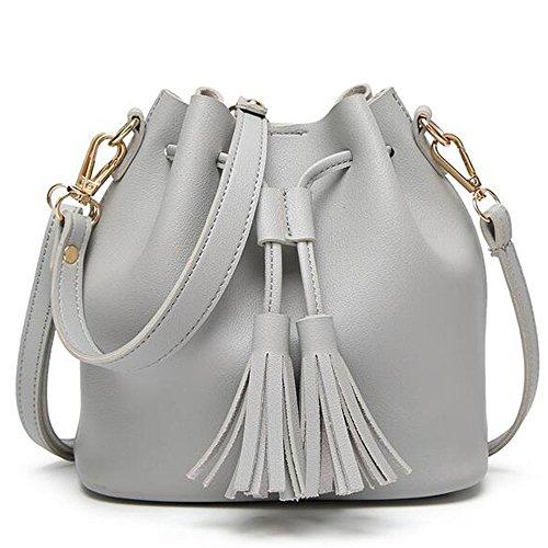 BOZEVON Borsa secchiello in Pelle Donna spalla mano shopper bucket bag con tracolla regolabile - Nero Grigio