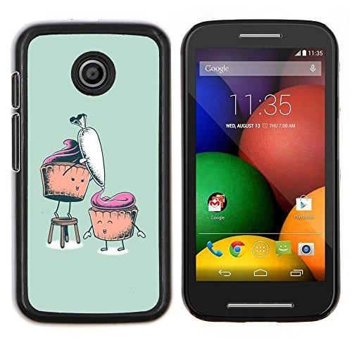 Copertura di plastica Shell Custodia protettiva || Motorola Moto E ( 1st Generation ) || Carota Muffin sano zucchero alimentare arte disegno @XPTECH