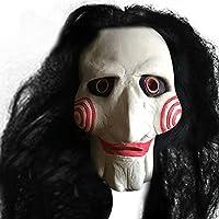 Rubility®Spaventoso Holloween Maschera di film Saw Chainsaw Massacre Jigsaw Puppet maschere in lattice Creepy Halloween maschere regalo nero