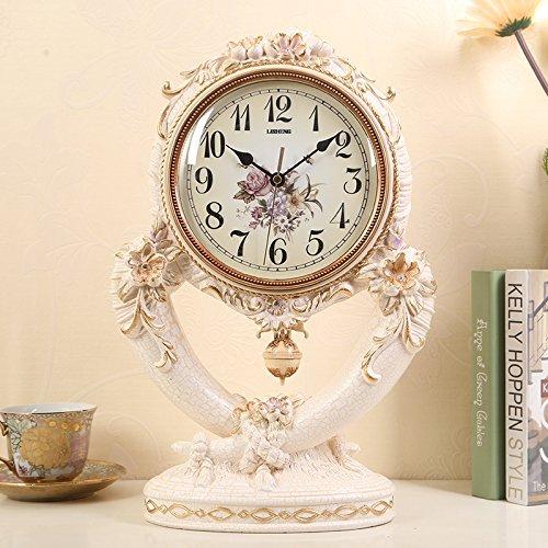 Y-Hui das Elfenbein Base Clock eleganten Garten Tischuhr Wohnzimmer Studie Schlafzimmer Uhren günstig Weg der Swing ist 10 Zoll, Risse der Weißen