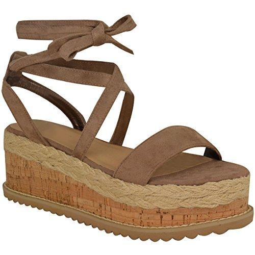 Damen Plateau Kork Espadrilles Sandalen Mit Keilabsatz Knöchel Schnüren Schuh Größe - Mokkabraun Kunstwildleder, 39