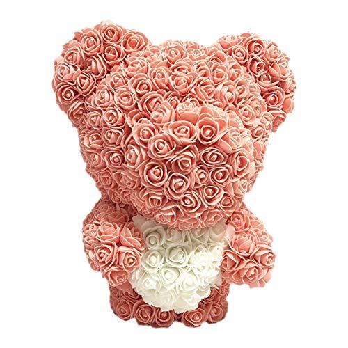 Wovemster Simulierte Rose Blume Bär Puppe Rose Glückspilz Puppe- Das Ideale Partner Geschenk Zum Valentinstag, Jahrestag Oder Zur Verlobung Hautfarbe (Schokolade Valentinstag Männer)