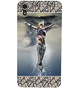 PrintDhaba Dancing Girl D-6028 Back Case Cover for HTC DESIRE 728 (Multi-Coloured)