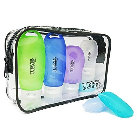 Bouteilles d'accessoires de voyage (4) Crème (1) Boîte à brosses à dents (2) Sac | Airline approuvé (Vert / Bleu / Violet / Blanc / Bleu clair)