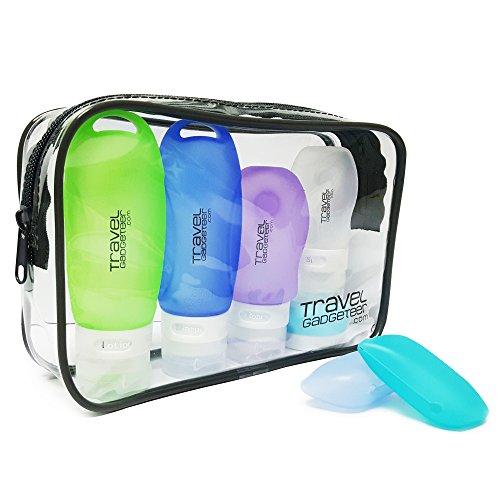 Bottiglie di accessi di viaggio (4) + caso di toscana (2) + portafoglio tsa approvato (verde/blu / viola/bianco / azzurro, 5-pack)