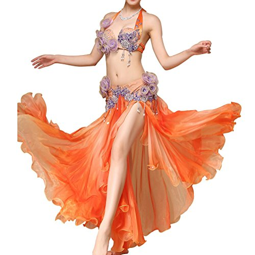 AAA MoLiYanZi Belly Dance Kostüm für Frauen Professional Performance Dress Flowers with Side Split Fee Fancy Skirt Set, Orange (Dress Fancy Flower Kostüme)