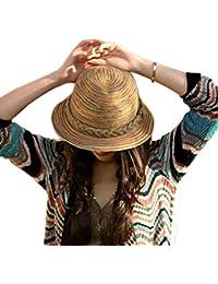 Vktech mehrfarbiger Damen Sonnenhut Strohhut Damenhut Sommerhut Sonnenschutz-Hut Urlaub Kappe