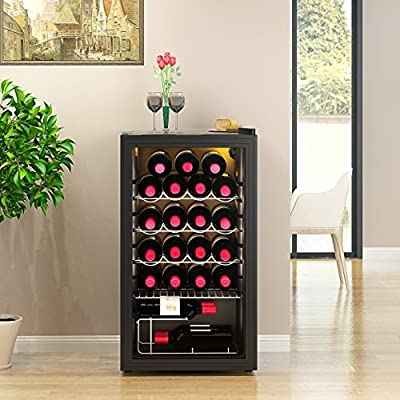Feifeiyo 1 x CLASS A+ Wine Refrigerator for up to 26 Bottles, Cooling Temperature Zones: 5-20°C, 93L Wine Cooler Freestanding Wine Fridge with Polar Light, black by Feifeiyo