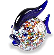 YourMurano Scultura in vetro di Murano, a forma di pesce, pesce blu, scultura murrina, vetro soffiato, Made in