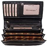 Hill Burry hochwertige Geldbörse | aus weichem Vintage Leder - Langes Portemonnaie - Kreditkartenetui (Schwarz)