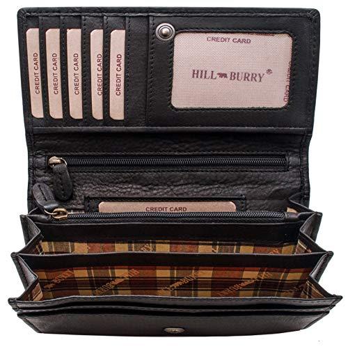 Lange Leder Damen Geldbörse (Hill Burry hochwertige Geldbörse | aus weichem Vintage Leder - Langes Portemonnaie - Kreditkartenetui (Schwarz))