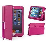 32nd - Étui Apple iPad Mini 1, 2 et 3 [Book Wallet] Housse Cuir PU et Fonction Support - Rose Vif