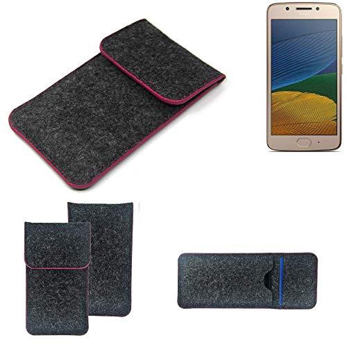 K-S-Trade® Filz Schutz Hülle Für Lenovo Moto G5 Single-SIM Schutzhülle Filztasche Pouch Tasche Case Sleeve Handyhülle Filzhülle Dunkelgrau Rosa Rand