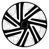(Größe wählbar) 15 Zoll Radkappen / Radzierblenden CYRKON Weiss/Schwarz passend für fast alle Fahrzeugtypen – universal