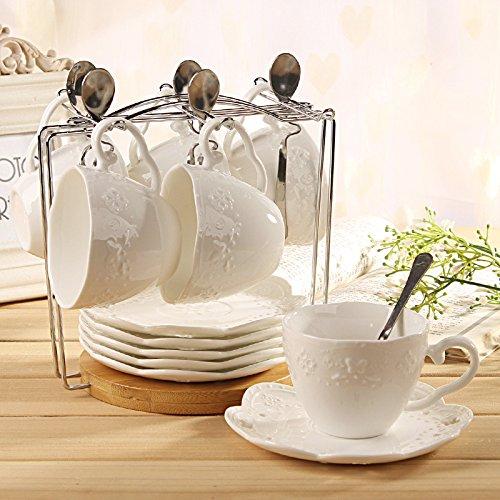 SSBY Tasse à café en céramique gaufrée définie, thé d'après-midi vintage en dentelle blanche soucoupe tasse