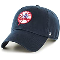 New York Yankees cappello MLB Cooperstown logo Authentic 47 Brand Clean Up  Adjustable Strapback navy da 725ba1fce95a