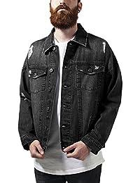 Urban Classics Herren und Jungen Jeansjacke Ripped Denim Jacket, Oversize destroyed Look Jacke