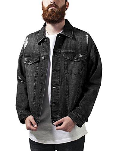 Schwarze Jeans-jacke (Urban Classics TB1438 Herren und Jungen Jeansjacke Ripped Denim Jacket, Oversize destroyed Look Jacke, black, Größe L)