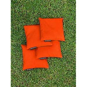 4 Cornhole Säckchen orange (Granulat oder Mais), 15 x 15 cm, 400g (oder 250g) – Top Qualität made in Germany…