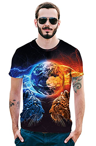 4cec3853aa03 BFUSTYLE Men s Fashion 3D Creative Print Star Leopard Hip Hop Style Short T-Shirts  tee