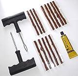 kit de réparation crevaison du pneu pour voiture + 13 mèches ciments de caoutchouc