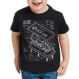 style3 NES Controlador Fotocalco Azul Camiseta para Niños T-Shirt 8-Bit mario donkey bros kong, Color:Nero;Talla:152
