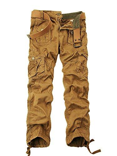 OCHENTA Herren Freizeithose Wasserwäsche Cargohose mehrere Tasche aus Baumwolle Loose-Fit #3380 Lehmgelb