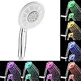 Zarupeng LED Handbrause Duschkopf, 7 Farben, Hochdruck, Einfache Installation, Chrom Handbrause Duscharmatur für Badewanne und Dusche (One Size, Silber)