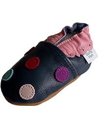 Chaussures de bébé en cuir souple à pois marine multicolors, Dotty Fish filles