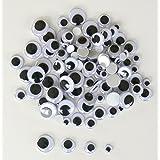 OZ INTERNATIONAL Sachet de 100 yeux mobiles adhésifs diamètre assortis noir et blanc