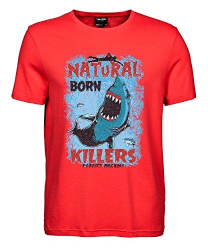 makato Herren T-Shirt Luxury Tee Natural Born Killer Coral